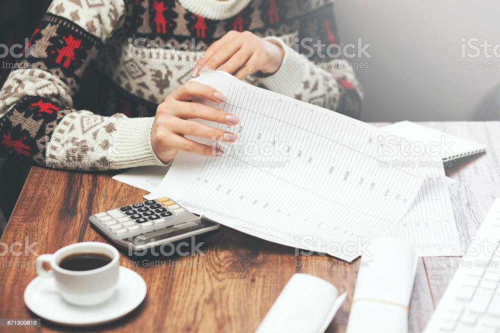 woman hand documents in the office stock photo