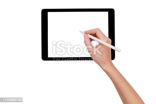 Woman Holding Hand Digital Tablet on White Background