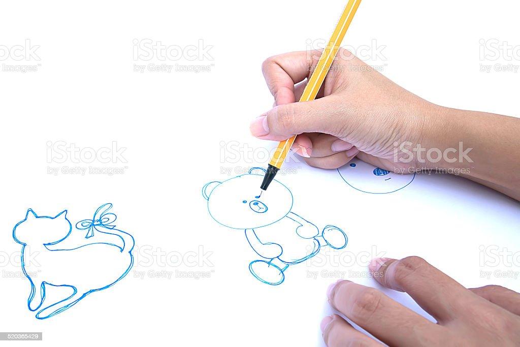 woman hand drawing stock photo