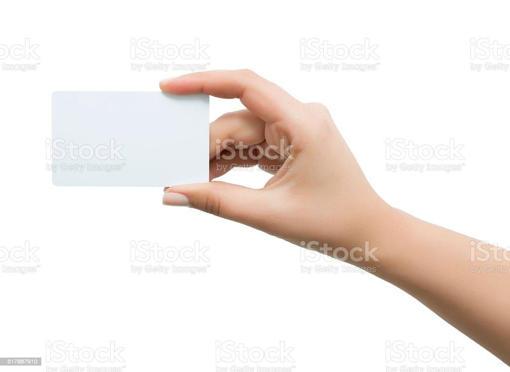 Frau hand Griff Karte der Haltung, isoliert auf weißem Hintergrund – Foto
