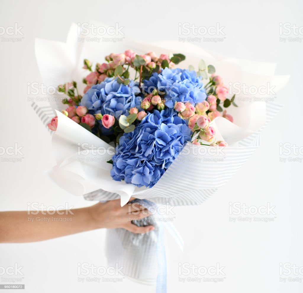 Woman hand hold bouquet of blue hydrangea flowers and pink roses woman hand hold bouquet of blue hydrangea flowers and pink roses royalty free stock photo izmirmasajfo