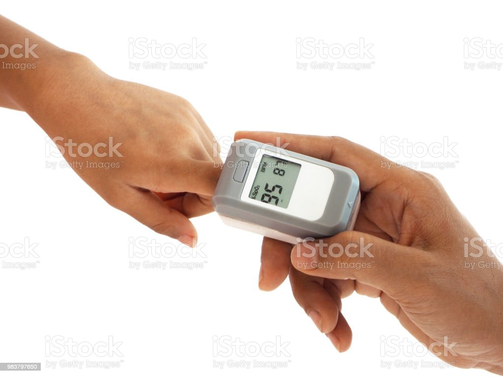 Woman Hand Hold Pulse Oximeter For Child Used To Measure