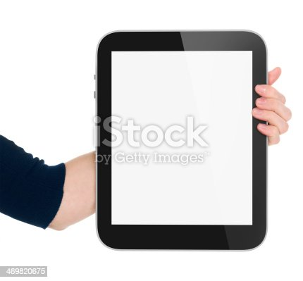 899410700 istock photo Woman hand hold tablet pc 469820675