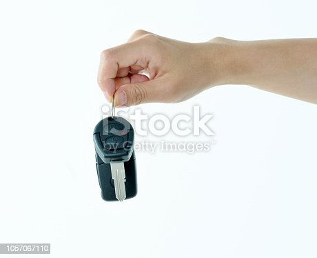 539841066istockphoto Woman hand holding a car key 1057067110