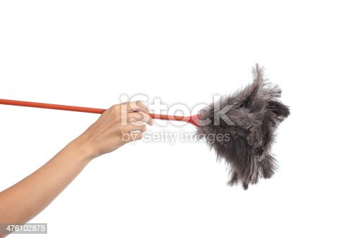 istock Woman hand holding a duster clean 476102875