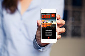 Streaming video concept: TV Series in a mobile phone screen.