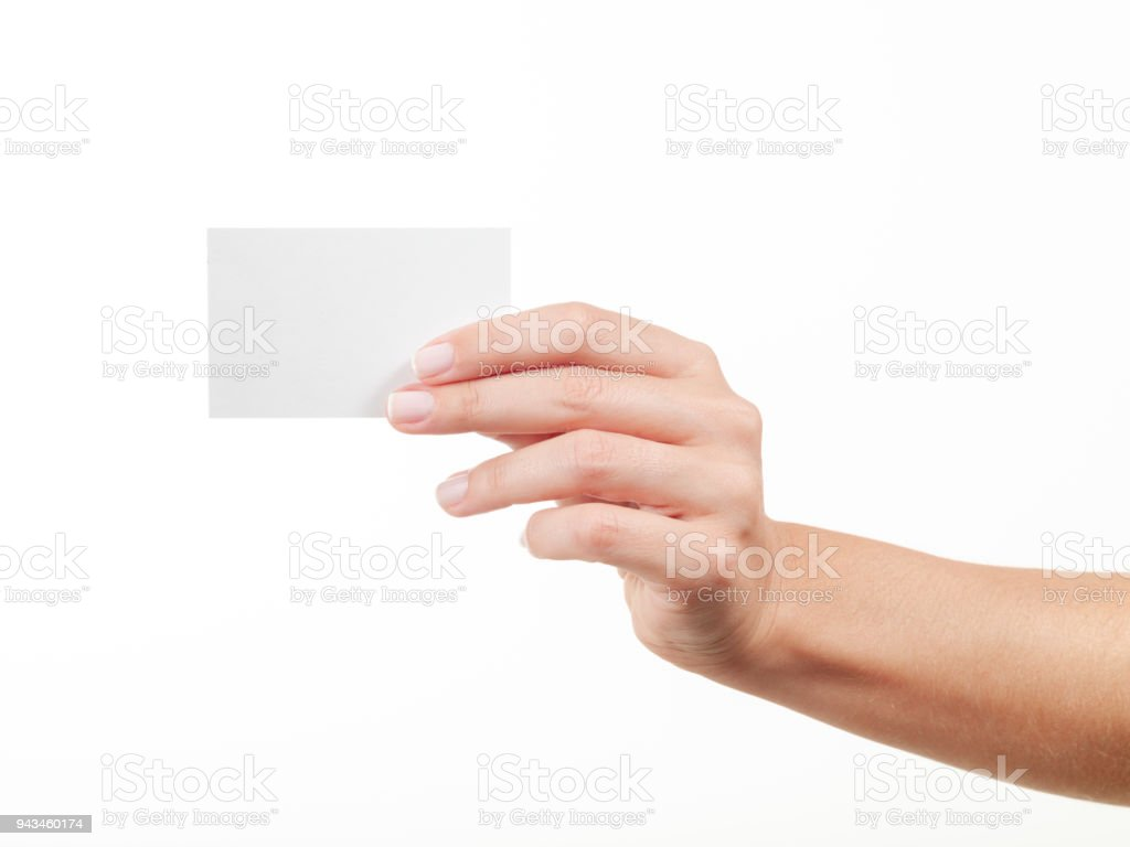 Woman hand holding an empty business card stock photo more woman hand holding an empty business card royalty free stock photo reheart Images