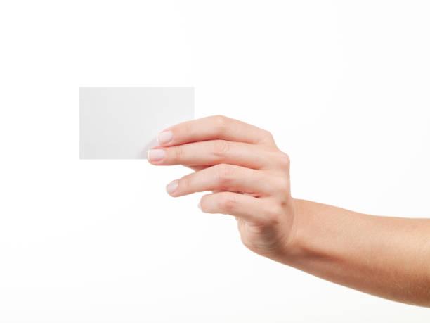 女性手を手に空白の名刺 - 握る ストックフォトと画像