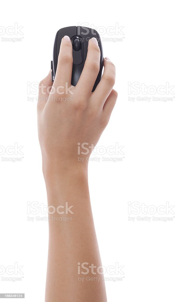 Woman hand holding black pc mouse isolated stock photo