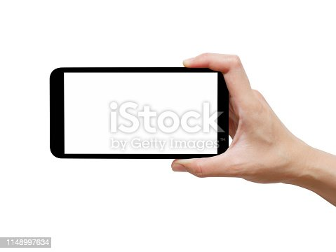istock Woman hand holding black smartphone with white screen 1148997634