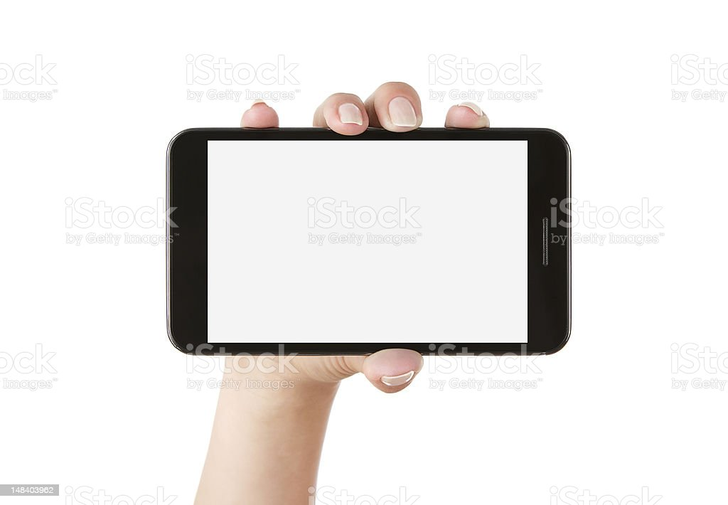 Woman hand holding blank smart phone with clipping path royalty-free stock photo