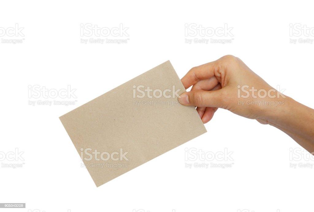 Frau Hand Holding braunen Umschlag – Foto