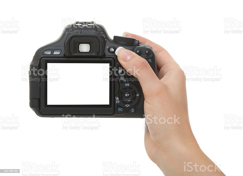 woman hand Holding Camera with white screen isolated stock photo