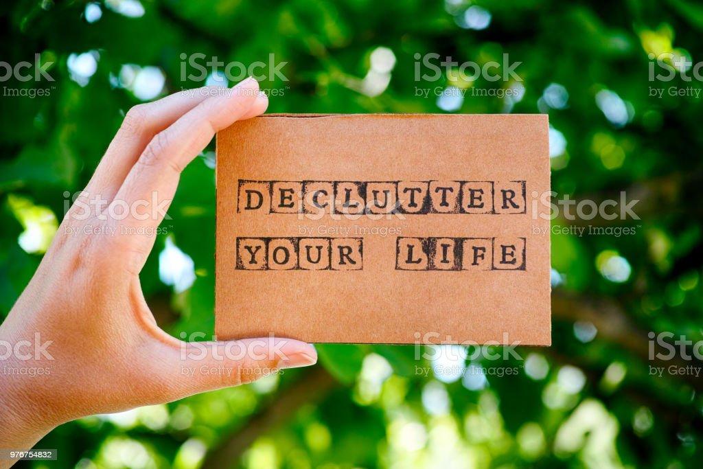 Tarjeta De Cartulina Con Palabras Ordenar Su Vida Hecha Por
