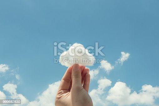 Woman hand holding cotton wool on cloud sky background. The development of the imagination, copy space.