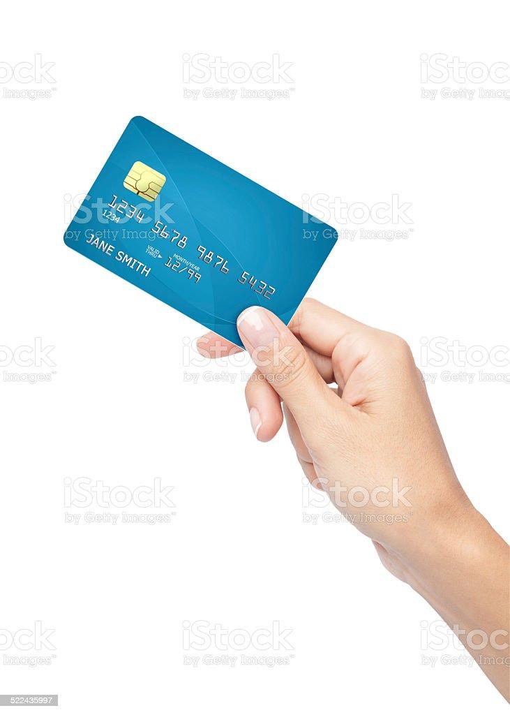 Frau hand holding Kreditkarte – Foto