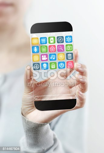 171347585 istock photo Woman hand holding futuristic transparent mobile smart phone 514467504