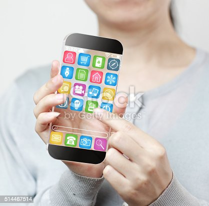 171347585 istock photo Woman hand holding futuristic transparent mobile smart phone 514467514