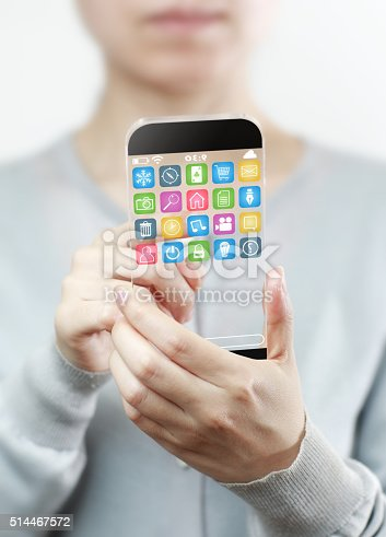 499253490istockphoto Woman hand holding futuristic transparent mobile smart phone 514467572