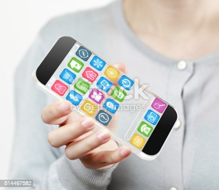 171347585 istock photo Woman hand holding futuristic transparent mobile smart phone 514467582