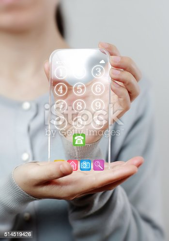 171347585 istock photo Woman hand holding futuristic transparent mobile smart phone 514519426