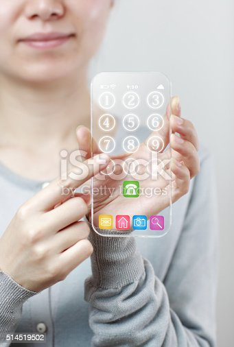 171347585 istock photo Woman hand holding futuristic transparent mobile smart phone 514519502