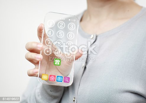 171347585 istock photo Woman hand holding futuristic transparent mobile smart phone 514519522