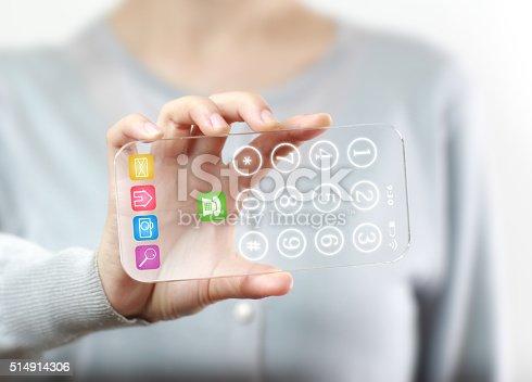 istock Woman hand holding futuristic transparent mobile smart phone 514914306