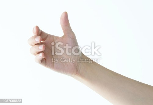 Woman hand holding gesture on white background.