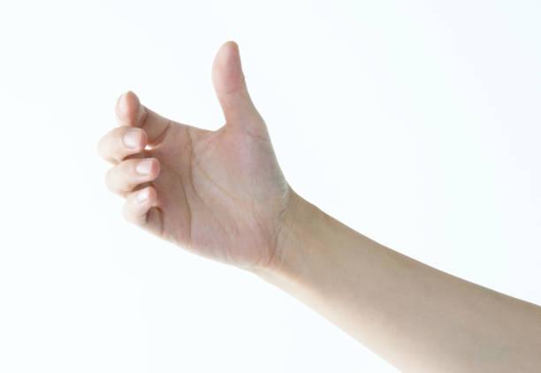 woman hand holding gesture on white background - afferrare foto e immagini stock