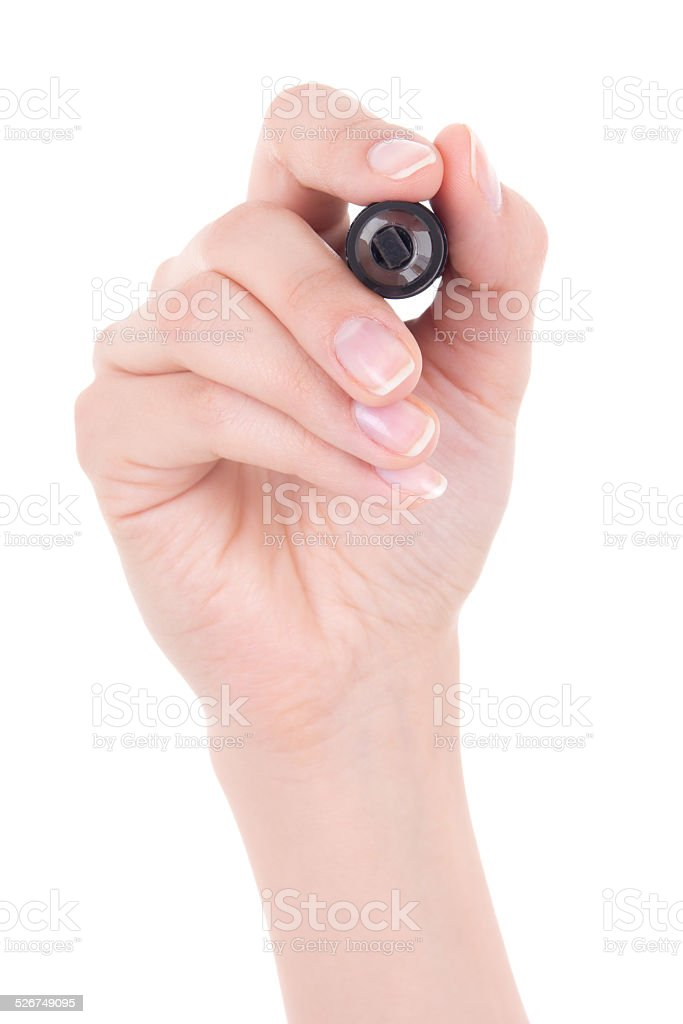 woman hand holding marker isolated on white stock photo