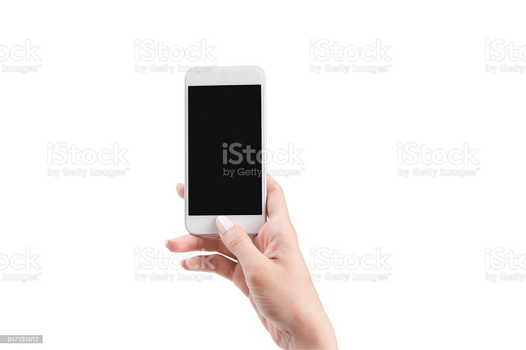 woman hand holding smart phone with path stock photo