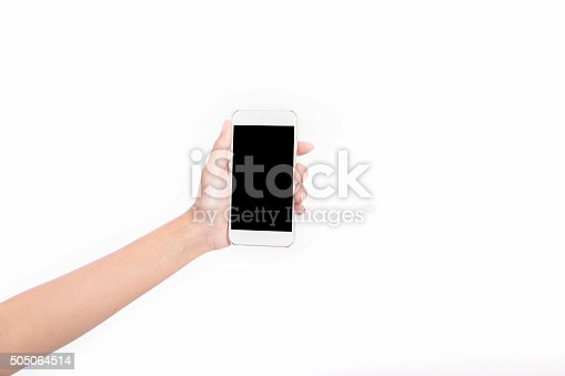 istock Woman hand holding Smartphone with blank screen on white background 505064514