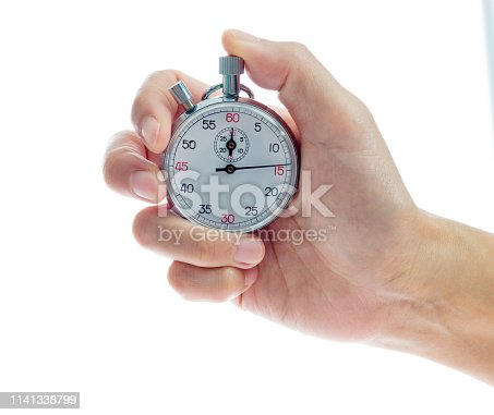 Woman hand holding stopwatch on white background.