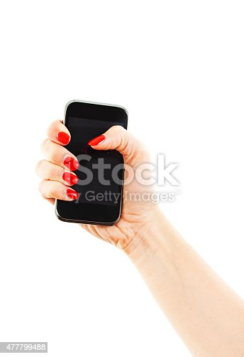 932821906 istock photo Woman hand holding the phone tablet touch computer gadget 477799488