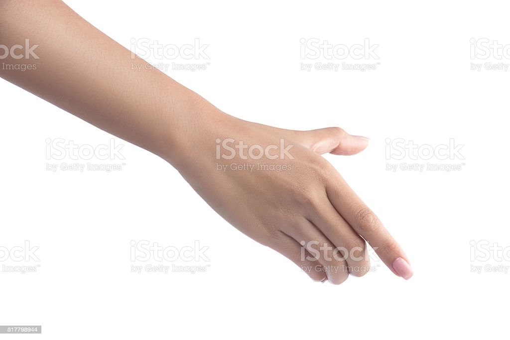 Woman Hand holding virtual mobile phone stock photo