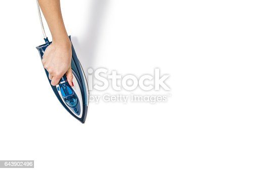 645276668 istock photo Woman hand ironing clothes top view isolated on white background 643902496