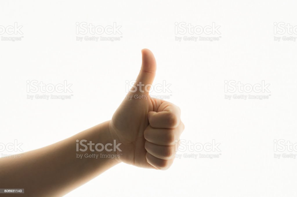 woman hand isolated showing thumb up sign stock photo