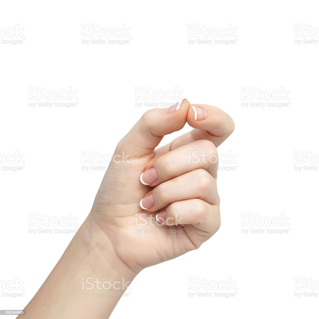 woman hand on isolated background holding an object royalty-free stock photo