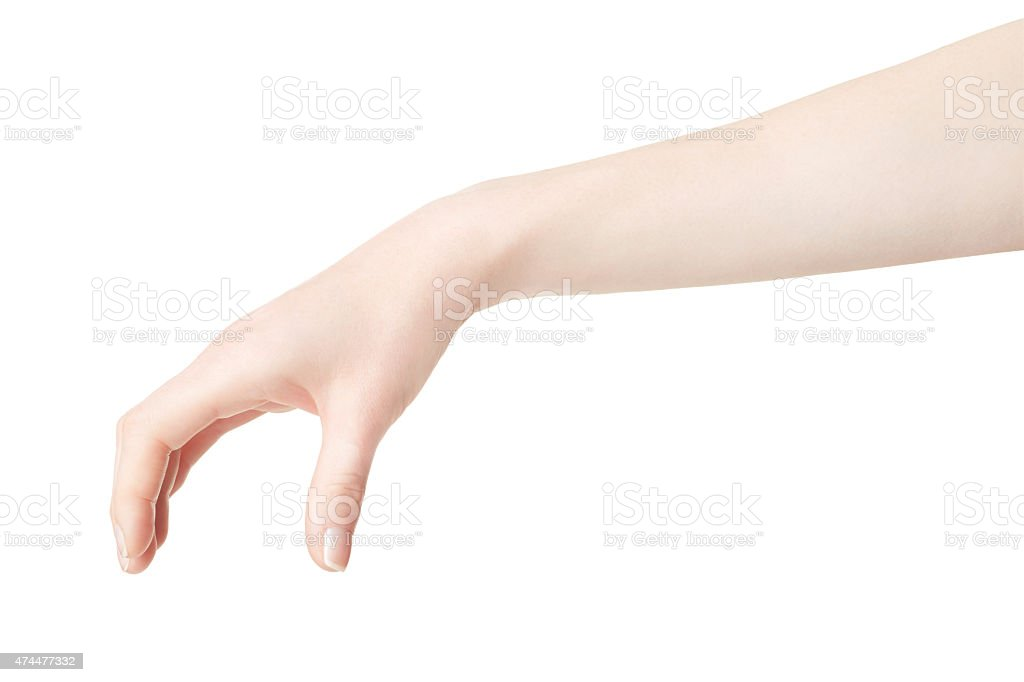 Woman hand picking up something stock photo