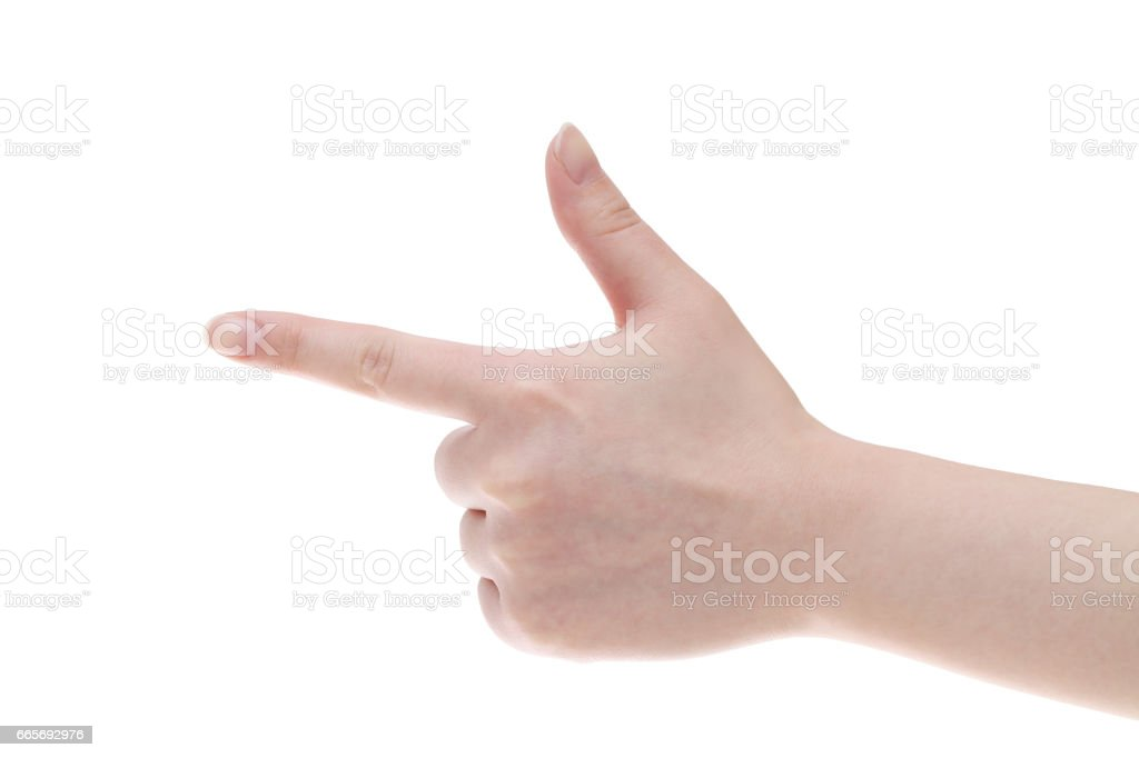 Woman hand point with finger stock photo