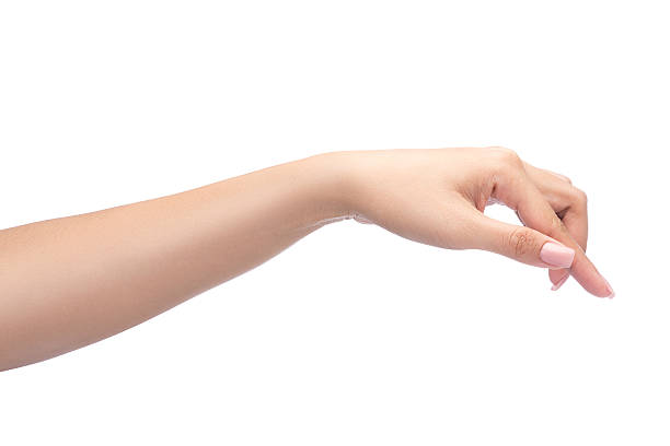 woman hand pointing something stock photo