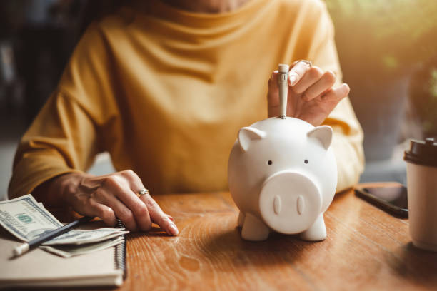 woman hand putting money bank note dollar into piggy for saving money wealth and financial concept. - investments stock photos and pictures