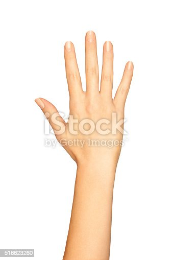 istock Woman Hand Showing Five Fingers On A White Background 516823260