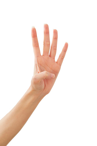 istock Woman hand showing peace four on white 1164273508