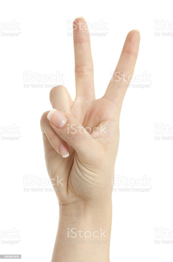 Woman hand showing peace sign isolated on white background stock photo