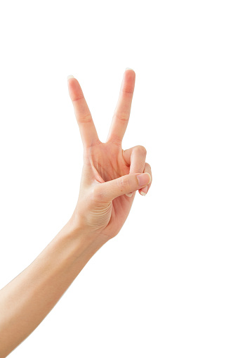 istock Woman hand showing peace two on white 1164273829