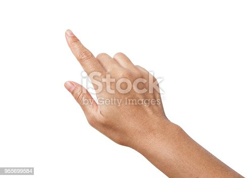 Woman hand showing the one fingers. counting hand sign isolated on white background. Save clipping path.