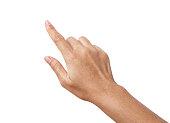女性手は、指を 1 つ表示されています。分離したカウントの手サイン