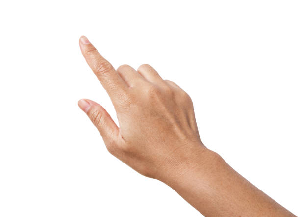 Woman hand showing the one fingers. counting hand sign isolated stock photo